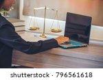 lawyer office. statue of... | Shutterstock . vector #796561618