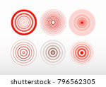 set of bold and thin red ring.... | Shutterstock .eps vector #796562305