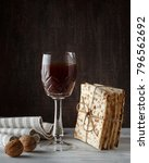 Small photo of A Jewish Matzah bread with wine. Passover holiday concept