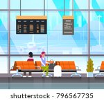 people waiting for takeoff in... | Shutterstock .eps vector #796567735