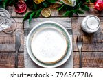 ceramic tableware top view on