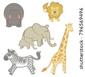 set of safari animals from... | Shutterstock .eps vector #796569496