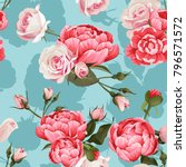 peony and roses vector seamless ... | Shutterstock .eps vector #796571572