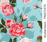 peony and roses vector seamless ... | Shutterstock .eps vector #796571575