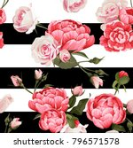 peony and roses vector seamless ... | Shutterstock .eps vector #796571578