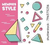 memphis style pattern 3d... | Shutterstock .eps vector #796575256