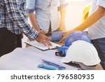 builder team meeting and...   Shutterstock . vector #796580935