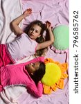 kids with tired faces have rest ... | Shutterstock . vector #796585762