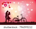 cute couple in love hugging ... | Shutterstock .eps vector #796595212
