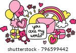 love pattern with love letter ... | Shutterstock .eps vector #796599442