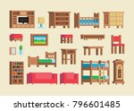 pixel art wooden furniture and... | Shutterstock .eps vector #796601485