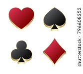 suit of playing cards. vector... | Shutterstock .eps vector #796608352