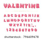 glossy pink font. festive abc...   Shutterstock .eps vector #796609678