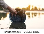 close up hand of woman holding... | Shutterstock . vector #796611802