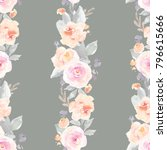 vintage watercolor flower... | Shutterstock . vector #796615666