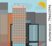 multi storey office building... | Shutterstock .eps vector #796615996