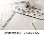 working on process house plan... | Shutterstock . vector #796618222