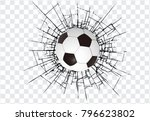 soccer ball and a crack on the... | Shutterstock .eps vector #796623802