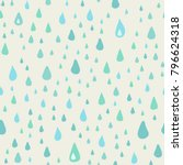 the pattern of blue drops of... | Shutterstock .eps vector #796624318