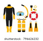 diving equipment set.... | Shutterstock .eps vector #796626232
