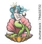 long haired mermaid in an open... | Shutterstock . vector #796633732