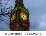 detail of clock on big ben in... | Shutterstock . vector #796634242
