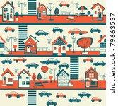 street  houses  cars | Shutterstock .eps vector #79663537