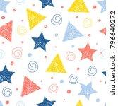 abstract handmade seamless... | Shutterstock .eps vector #796640272