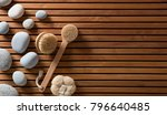 zen pebbles set on turkish bath ... | Shutterstock . vector #796640485