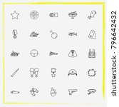 military line icon set gas mask ... | Shutterstock .eps vector #796642432