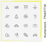 camping line icon set paw ... | Shutterstock .eps vector #796647718