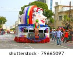 LIMASSOL, CYPRUS - MARCH 6, 2011: Unidentified participants at carnival parade. - stock photo