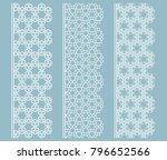 vector set of line borders with ... | Shutterstock .eps vector #796652566