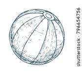 beach ball on white background  ... | Shutterstock .eps vector #796654756