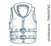 life vest on white background ... | Shutterstock .eps vector #796654762