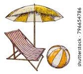 beach umbrella and lounge chair ... | Shutterstock .eps vector #796654786
