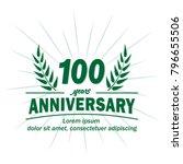 100 years anniversary logo.... | Shutterstock .eps vector #796655506