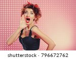 pretty emotional girl with... | Shutterstock . vector #796672762