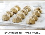 raw unbaked buns. ready to bake ... | Shutterstock . vector #796679362