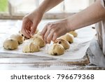 raw unbaked buns. ready to bake ... | Shutterstock . vector #796679368