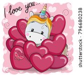 valentine card with cute...   Shutterstock .eps vector #796680238