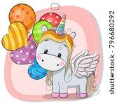 Stock vector greeting card cute cartoon unicorn with balloon 796680292