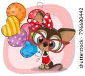 greeting card cute cartoon... | Shutterstock .eps vector #796680442