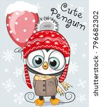 cute cartoon penguin in a hat... | Shutterstock .eps vector #796682302