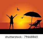 silhouette of the girl on a... | Shutterstock .eps vector #79668865