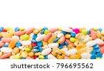 border of colorful pills. pills ... | Shutterstock . vector #796695562