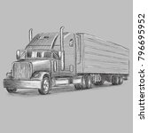 classic american truck hand... | Shutterstock .eps vector #796695952