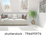 white room with sofa and winter ... | Shutterstock . vector #796695976