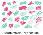 grunge ink pen stroke set | Shutterstock .eps vector #796706788