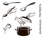 monochrome collection of spoon  ... | Shutterstock .eps vector #796708576